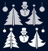 Graphical Christmas symbols set Piirros