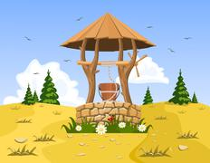 A well with pure natural water. Vector - stock illustration