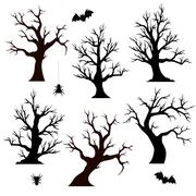 Halloween trees, spiders and bats Stock Illustration