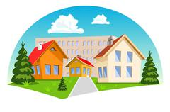 Stock Illustration of Colorful cartoon houses on white background. Vector