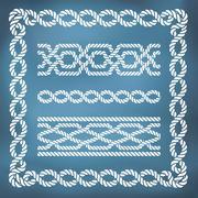 Decorative seamless nautical rope borders Stock Illustration