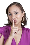 Woman Saying Be Quiet - stock photo