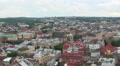 Buildings of  old European city Lviv in Ukraine  from above. PAL zoom  shot Footage