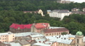 Buildings of  old European city Lviv in Ukraine  from above. PAL panorama Footage