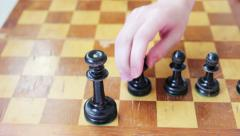 Placement of the black chess pieces - stock footage
