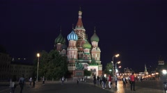 St Basil's Cathedral (in 4k) at night, Red Square, Moscow, Russia. Stock Footage