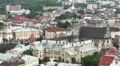 Roofs of  old European city Lviv in Ukraine  from above. PAL panorama HD Footage