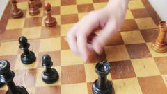 Moving the black rook Stock Footage