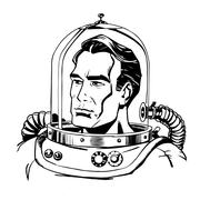 Retro astronaut line art Stock Illustration