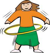 Fit Woman Using Yellow Hula Hoop - stock illustration