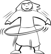 Hula Hoop Exercise Outline - stock illustration