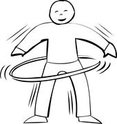Stock Illustration of Active Hula Hooping Outline