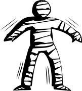 Outline of Stiff Mummy Walking Stock Illustration