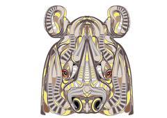 ethnic rhino - stock illustration