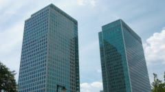 Canary Wharf glass and steel modern office buildings Stock Footage