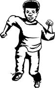 Outlined Angry Running Teenager Stock Illustration