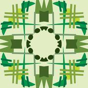 Green Symmetrical Tile Patterns - stock illustration