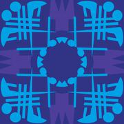 Blue Symmetrical Tile Patterns Stock Illustration