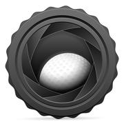Camera shutter with golf ball Stock Illustration