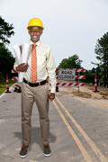 Black Teenage Construction Worker - stock photo