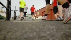 Sports people running in the street: fitness, jogging, Stock Footage