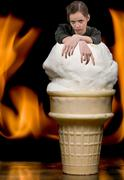 Girl with Flaming Ice Cream Stock Photos