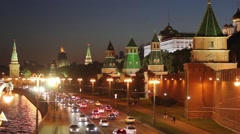 Kremlin Wall And Towers In Moscow In The Evening - stock footage