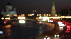 Defocused Kremlin And the Cathedral of Christ the Savior View - stock footage