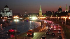 View On Kremlin Wall And Towers At Night. Moscow. Russia. - stock footage
