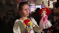 Beautiful Young Woman Playing With Puppets Stock Footage