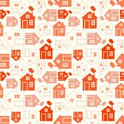 Stock Illustration of Home sweet home house silhouette and outline seamless pattern