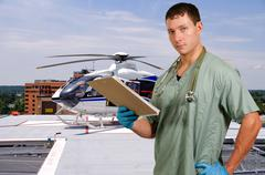 Doctor and Life Flight Helecopter Stock Photos