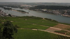 View on Rhein river  in  Rudesheim   , Germany Stock Footage