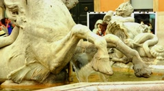 ULTRA HD 4K real time shot,The Fountains in the Piazza Navona in Rome Stock Footage
