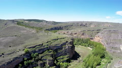 Aerial footage Duraton canyon and Sepulveda. Segovia. Castilla Leon. Spain. Stock Footage
