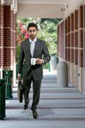 Man with Brief Case and Coffee Stock Photos