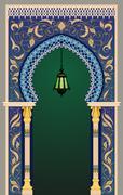 Decorative islamic arc - stock illustration