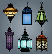 Arabic lantern set 1 - stock illustration