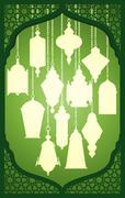 Lantern silhouette with arabic decorative frame Stock Illustration