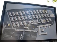 Sign showing the layout of Auschwitz-Birkenau Stock Photos