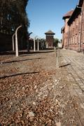 View to Watch Tower, Auschwitz Stock Photos