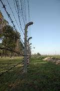 Barbed wire fence, Auschwitz concentration camp Stock Photos