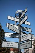 Stock Photo of Tourist distance sign, Krakow