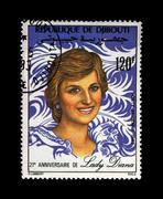 Lady Diana Spencer, Princess Of Wales, postal stamp, circa 1982. Stock Photos