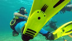 Scuba Diving in Cyprus. KATO PAPHOS, CYPRUS - July 19, 2015 Stock Footage