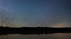 Milky Way Time Lapse Beautiful night sky reflection on Lake - stock footage