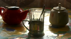 Morning still-life with tea Stock Footage