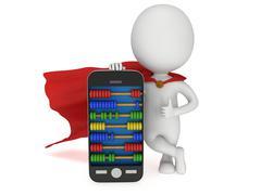 Stock Illustration of Superhero near smartphone with abacus