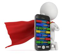 Stock Illustration of Superhero near smartphone with abacus