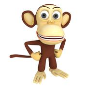 3d cute monkey with arms akimbo Stock Illustration